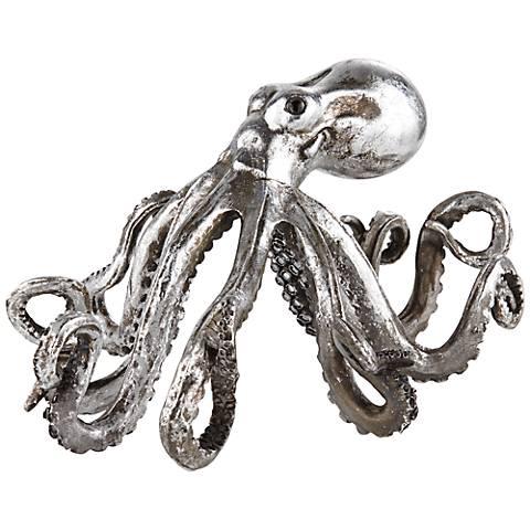 """Brushed Nickel Octopus 14"""" Wide Sculpture"""