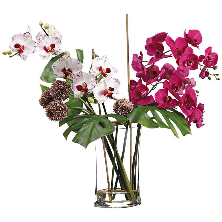 """White Orchid 26"""" High Faux Floral Arrangement"""