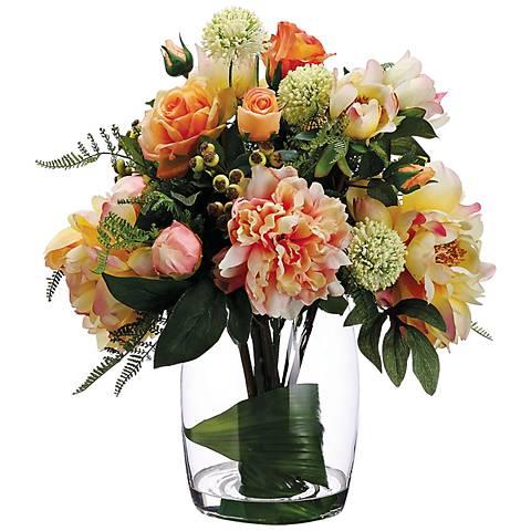 Rose and Allium Faux Floral Arrangement in a Glass Vase