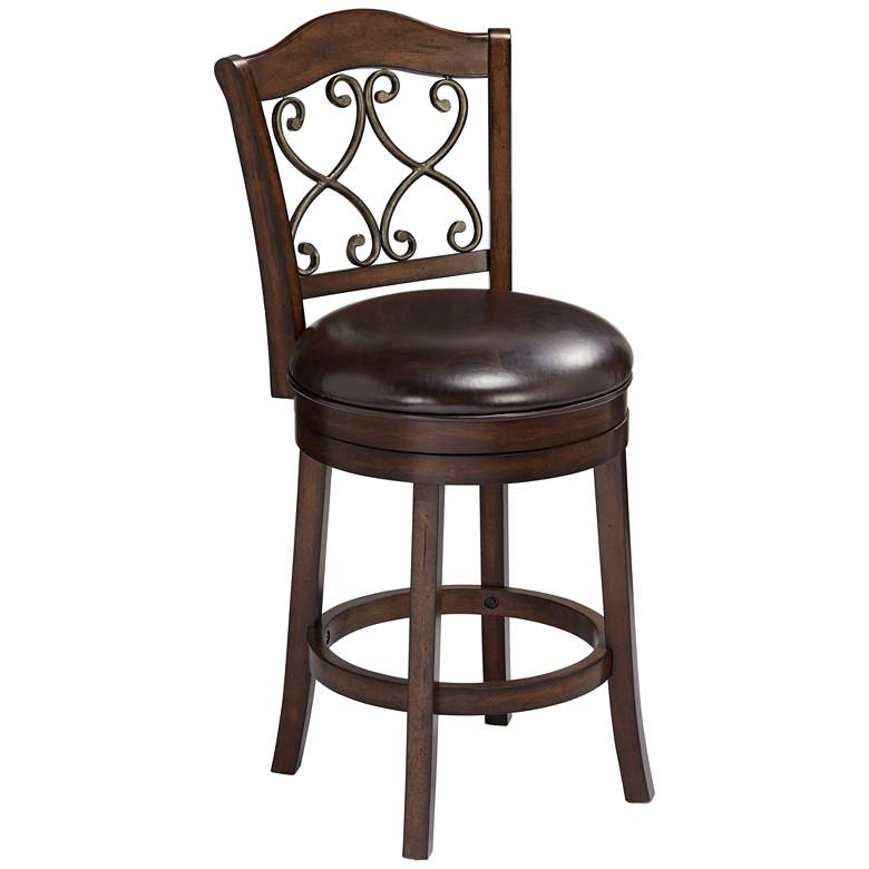 "Newton Brown Faux Leather 26"" Swivel Counter Stool"