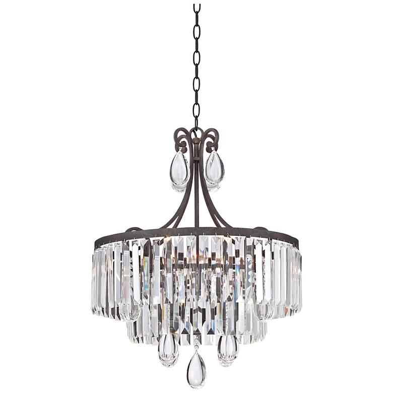"""Luba 20"""" Wide Bronze Crystal 4-Light Chandelier"""