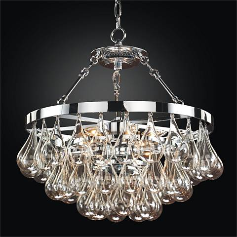 """Concorde Blown Glass 19"""" Wide Polished Chrome Chandelier"""