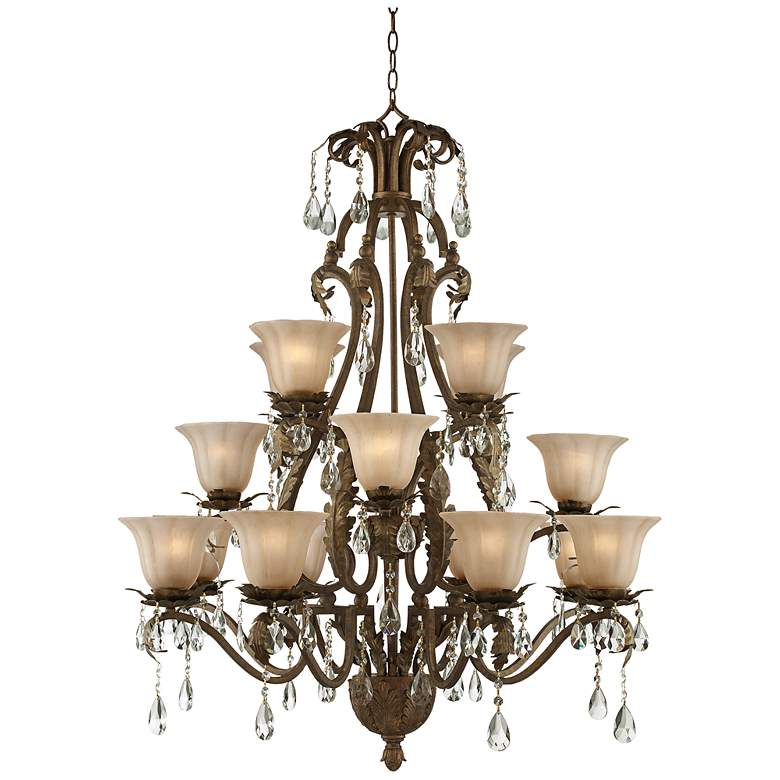 "Iron Leaf 39"" Wide Roman Bronze and Crystal Chandelier"