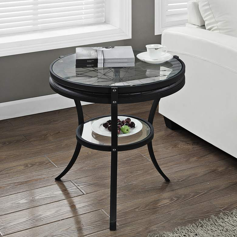 """Ciclavia 23"""" Wide Black Metal Glass Top Round Accent Table"""