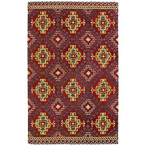 Kaleen Global Inspirations GLB07-25 Deep Red Wool Rug