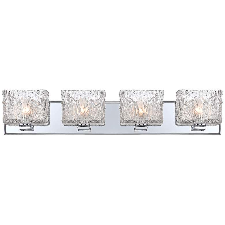 "Lavonia Chrome 27 1/4""W 4-Light Molten Glass Vanity Light"