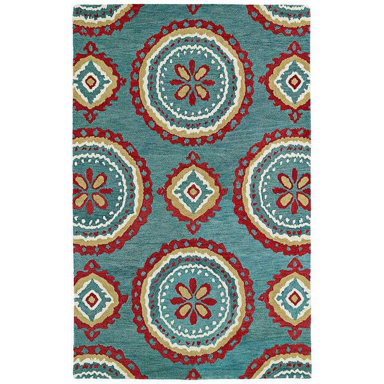 "Global Inspirations GLB09-91 5'x7'9"" Teal Wool Area Rug"