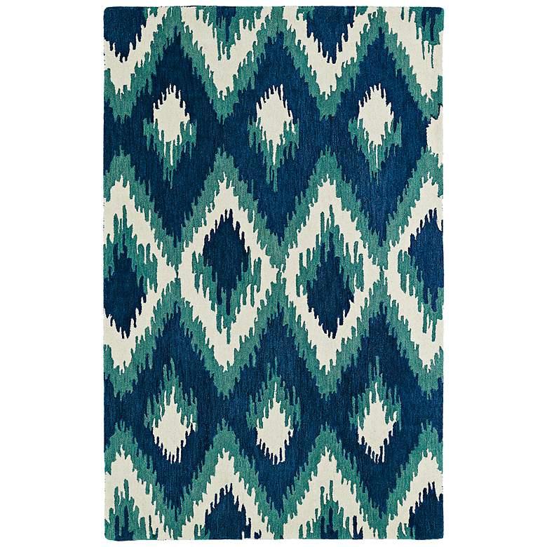 "Global Inspirations GLB10-17 5'x7'9"" Blue Diamonds Wool Rug"