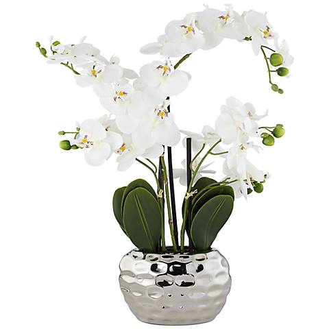 "White Phalaenopsis 23""H Faux Orchid in Silver Ceramic Pot"
