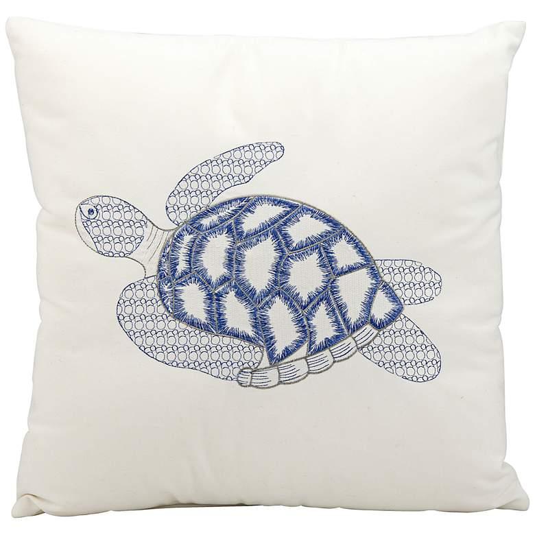 "Mina Victory Blue Sea Turtle 18"" Indoor-Outdoor Pillow"