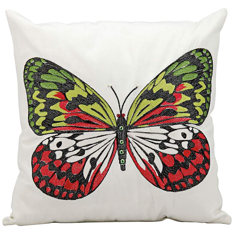 """Mina Victory Multi-Color Butterfly 18"""" Indoor-Outdoor Pillow"""