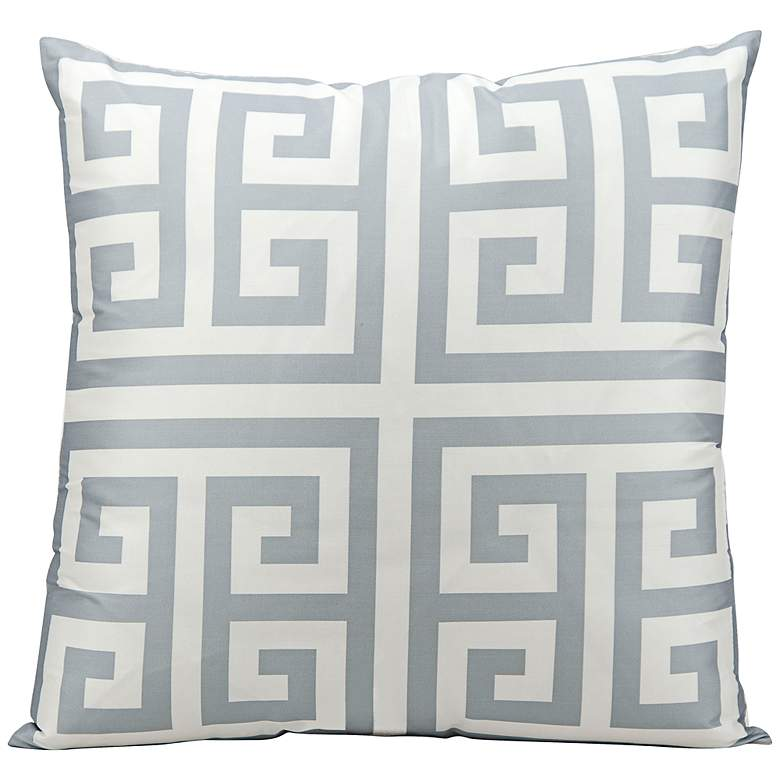 "Mina Victory Greek Key 20"" Square Gray Outdoor Pillow"