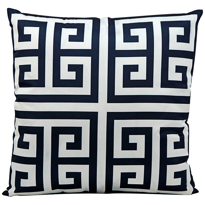 """Mina Victory Greek Key 20"""" Square Navy Outdoor Pillow"""