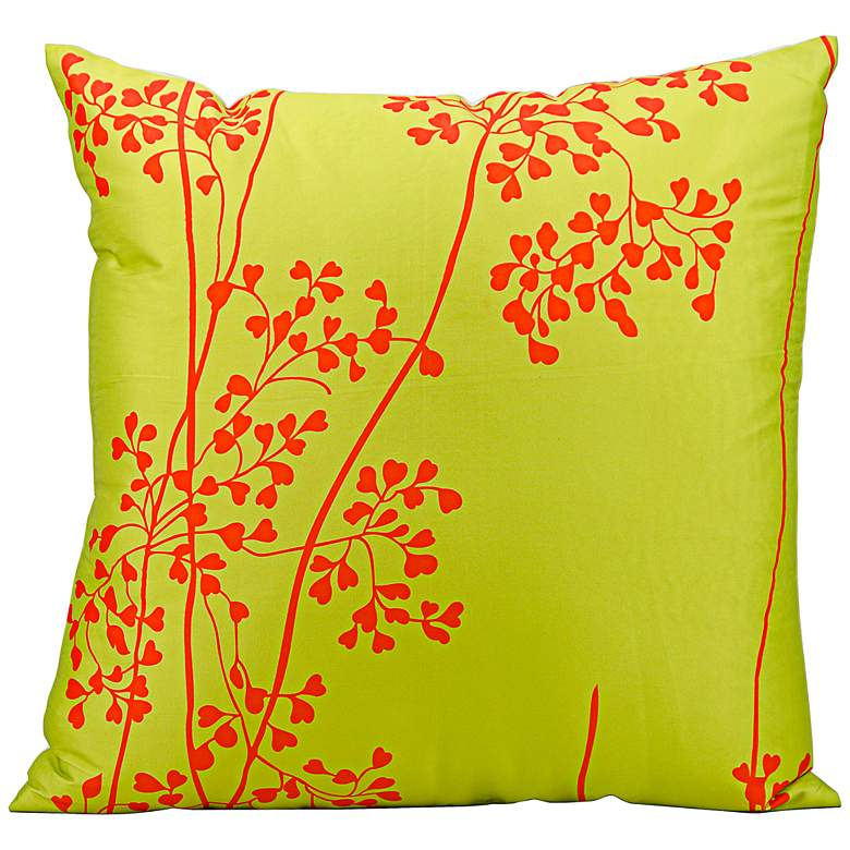 """Mina Victory Lime Green and Orange 20"""" Indoor-Outdoor Pillow"""