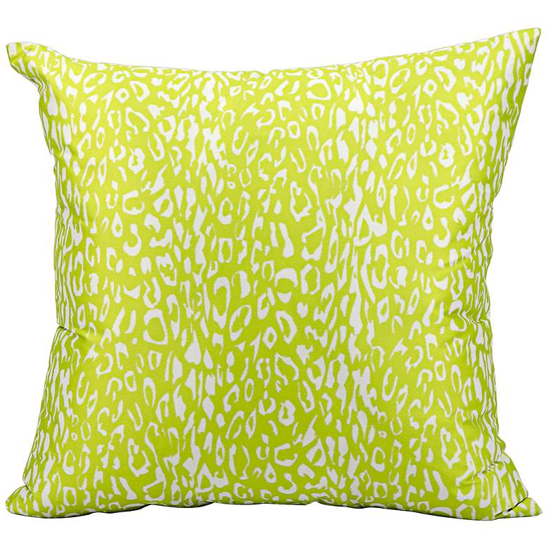 "Mina Victory Leopard 20"" Square Bright Green Outdoor Pillow"