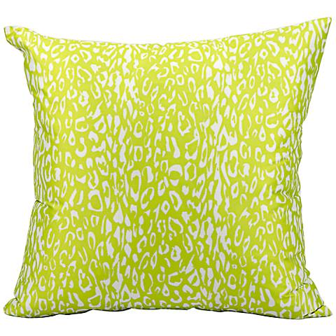 """Mina Victory Leopard 20"""" Square Bright Green Outdoor Pillow"""