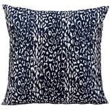 """Mina Victory Leopard 20"""" Square Navy Blue Outdoor Pillow"""