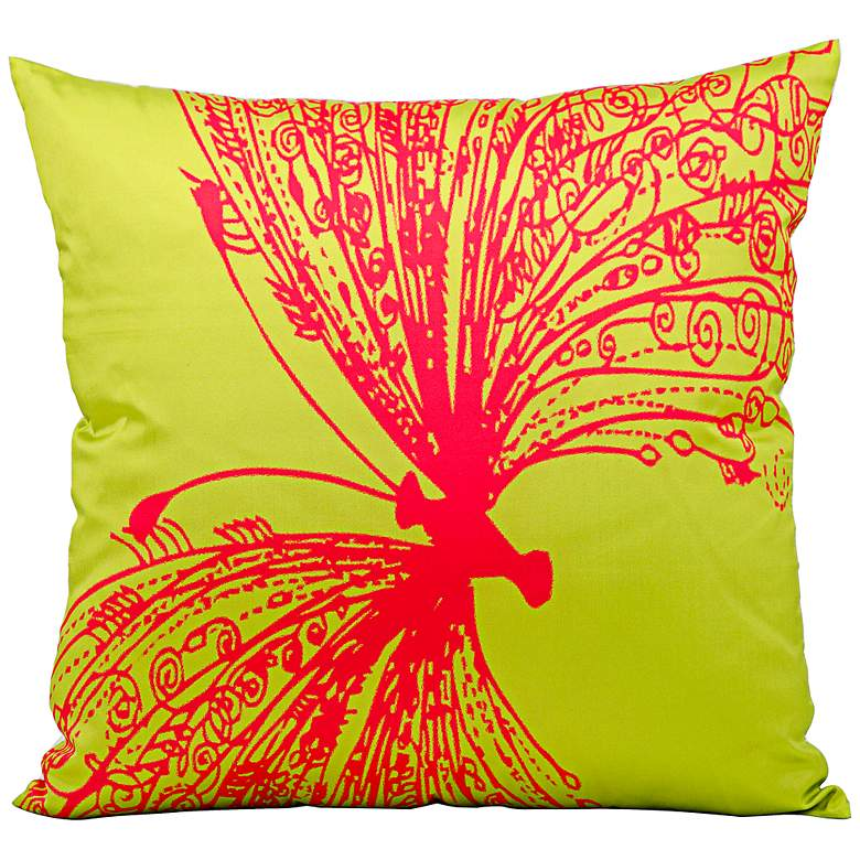 "Mina Victory Butterfly 18"" Lime Green Indoor-Outdoor Pillow"