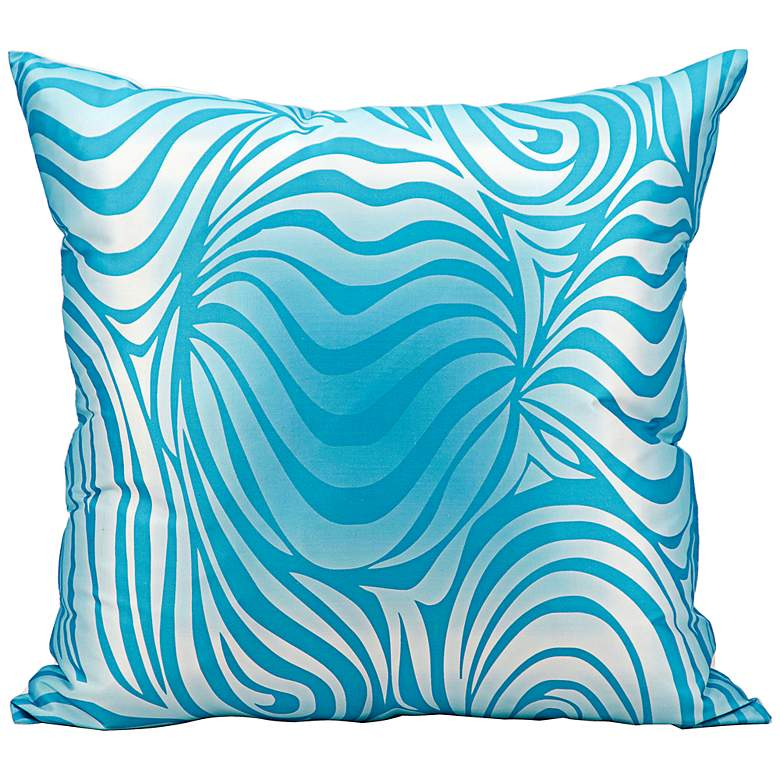 """Mina Victory Wave 18"""" Turquoise Blue Indoor-Outdoor Pillow"""