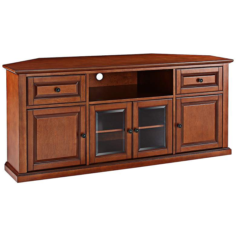 "Alexandria 60"" Wide 4-Door Cherry Wood Corner TV"