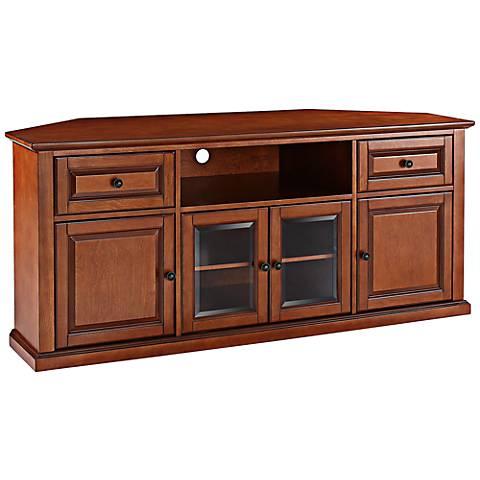 """Alexandria 4-Door Classic Cherry 60"""" Corner TV Stand"""