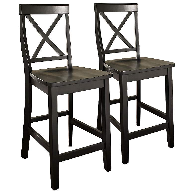 "Bristol 24"" Black Armless Counter Stools Set of"