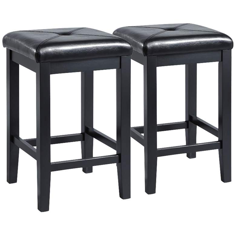 "Sutton 24"" Black Square Counter Stools Set of 2"