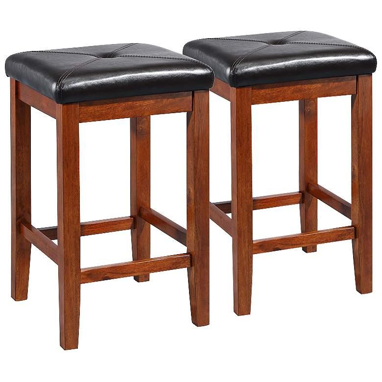 Surprising Sutton 24 Cherry Counter Stools Set Of 2 Evergreenethics Interior Chair Design Evergreenethicsorg