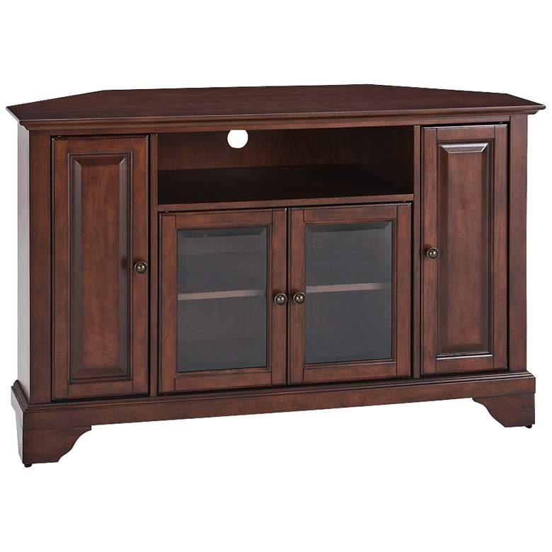 """LaFayette 48"""" Wide 4-Door Vintage Mahogany Corner TV"""