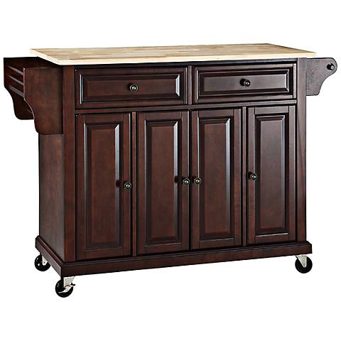 Dover Natural Wood Top Mahogany Kitchen Island Cart