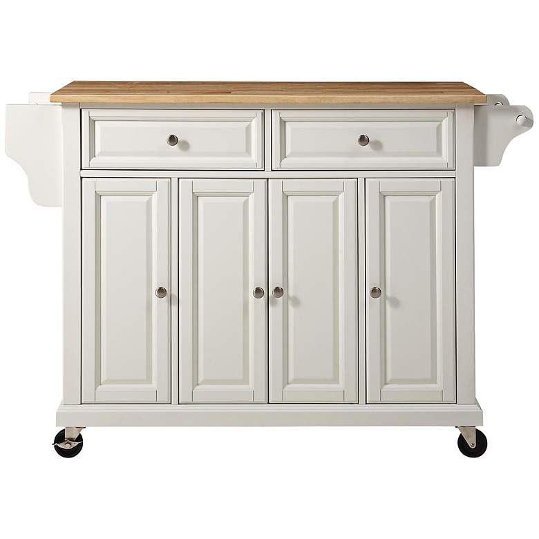 "Dover 52"" Wide Cutting Board Top White Kitchen Island Cart"