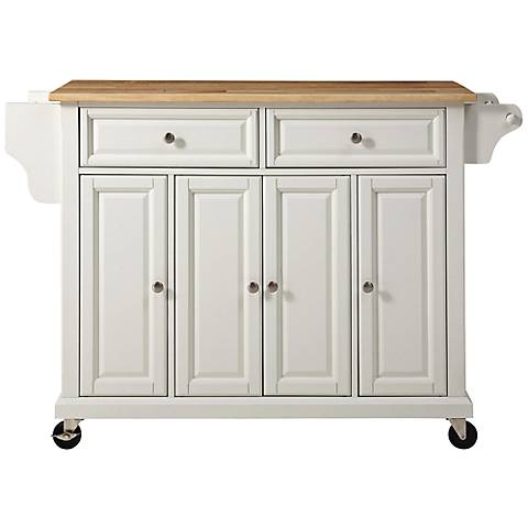 Dover Natural Wood Top White 4-Door Kitchen Island Cart