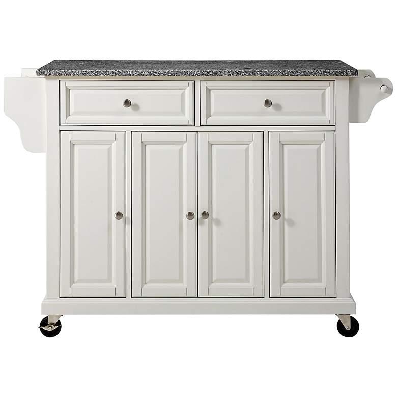 """Dover 52"""" Wide Granite Top White Kitchen Island Cart"""
