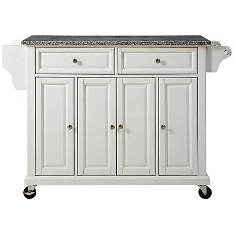 Dover Granite Top White 4-Door Kitchen Island Cart