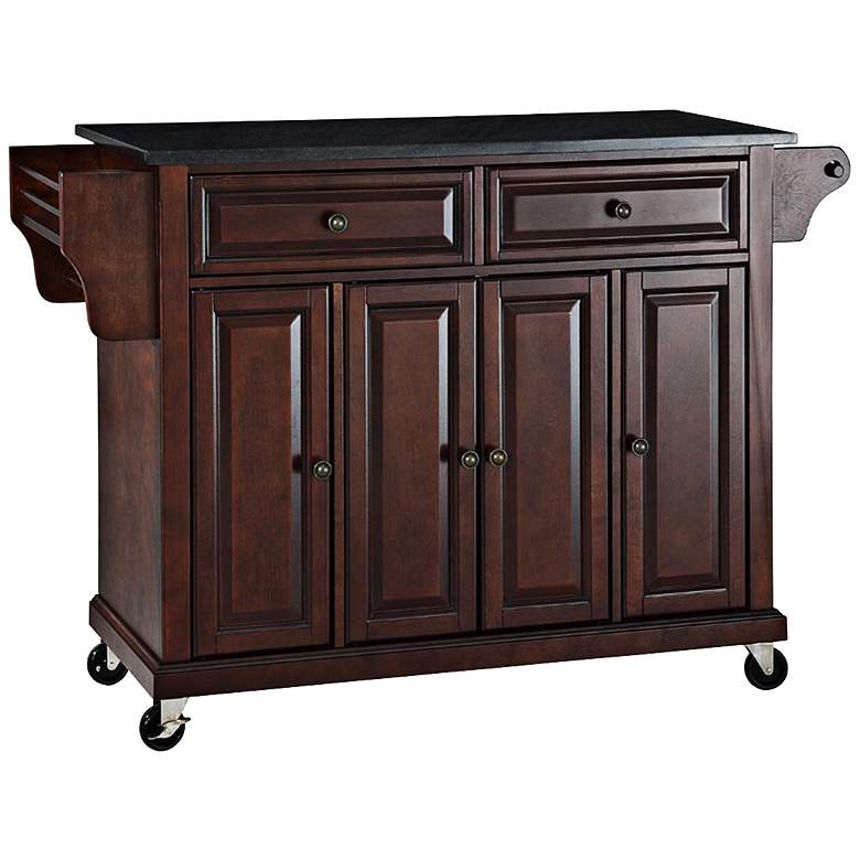 "Dover 52"" Wide Granite Top Mahogany Kitchen Island"