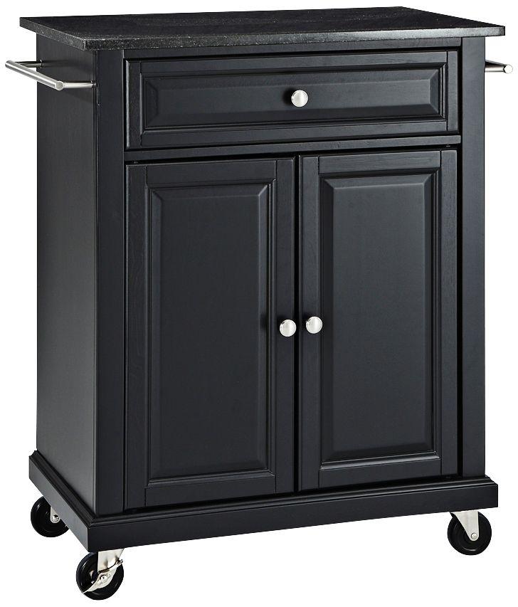 York Black Granite Top Black 2 Door Kitchen Island Cart