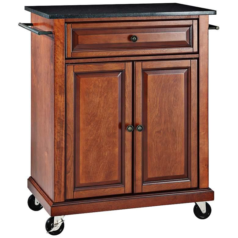 """York 28 1/4"""" Wide Black Granite Cherry Kitchen Island Cart"""