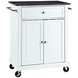 York Black Granite Top White 2 Door Kitchen Island Cart