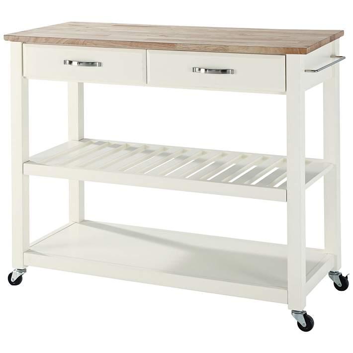 Wide White Finish Kitchen Island Cart