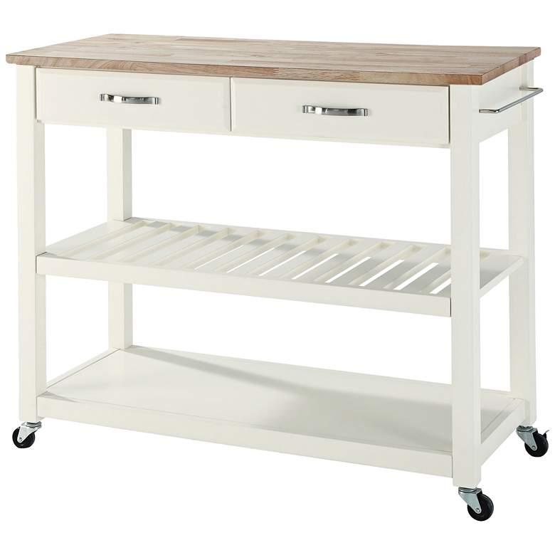 Phenomenal Sheffield 42 Wide White Finish Kitchen Island Cart Short Links Chair Design For Home Short Linksinfo