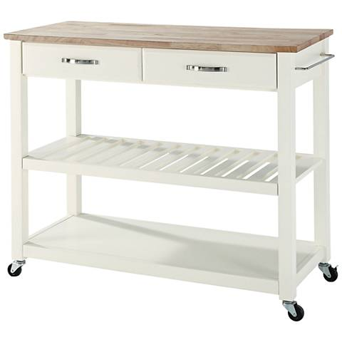 Sheffield Wood Top White 2-Drawer Kitchen Island Cart