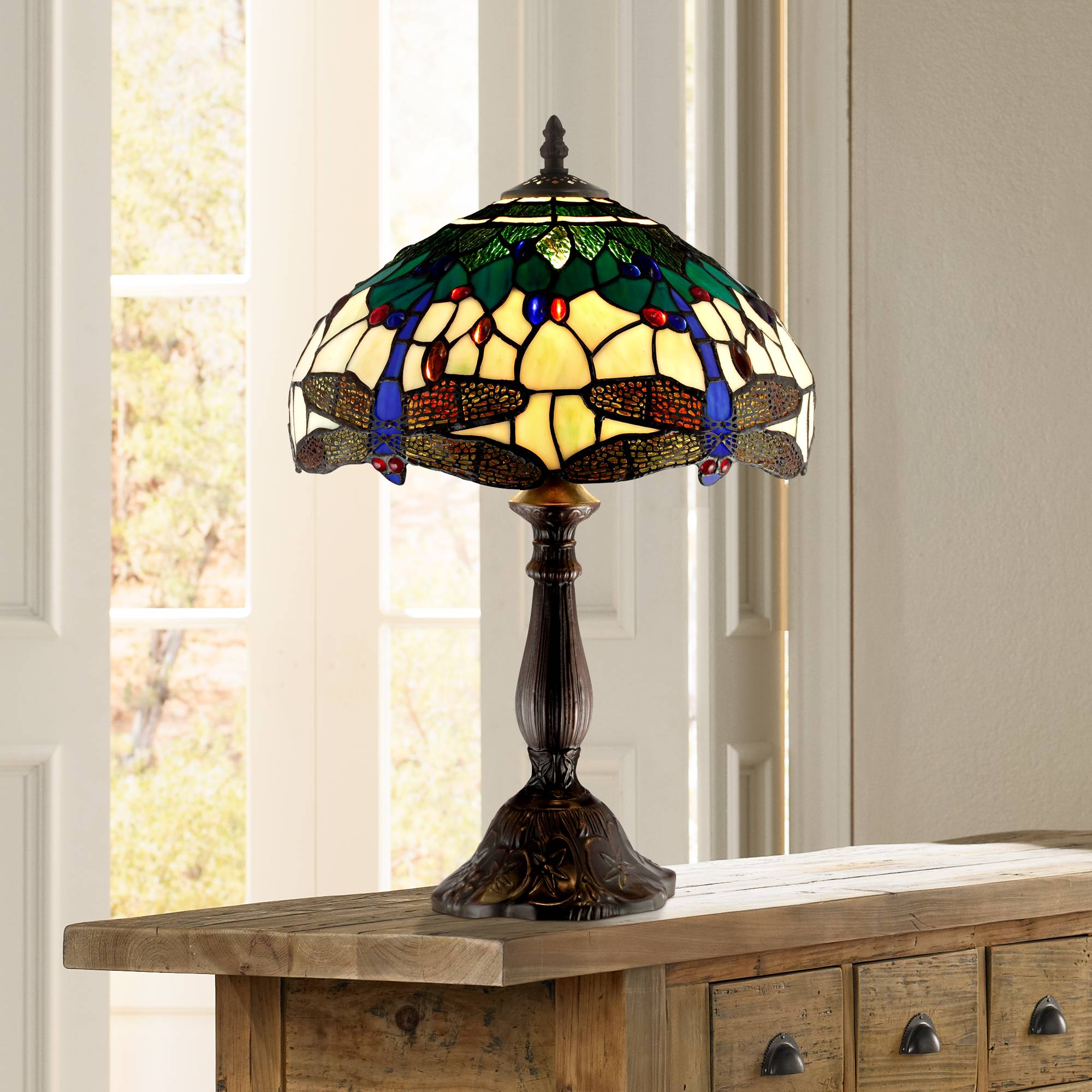 Tiffany Style Accent Table Lamp 18 Brown Dragonfly Art Glass For