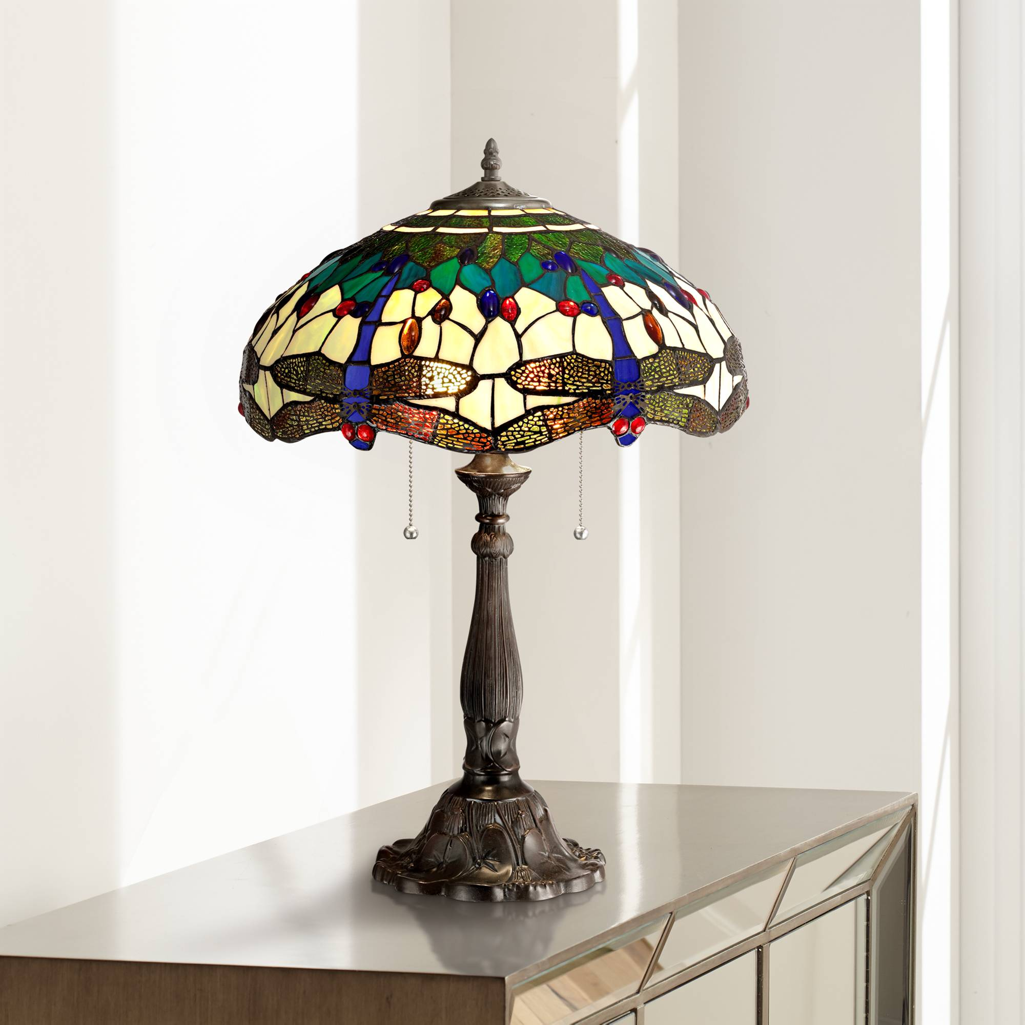Details About Tiffany Style Table Lamp Bronze Dragonfly Art Gl For Living Room Bedroom