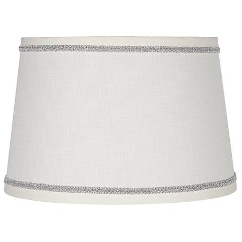 White Linen Shade with Silver Scroll Trim 10x12x8 (Spider)
