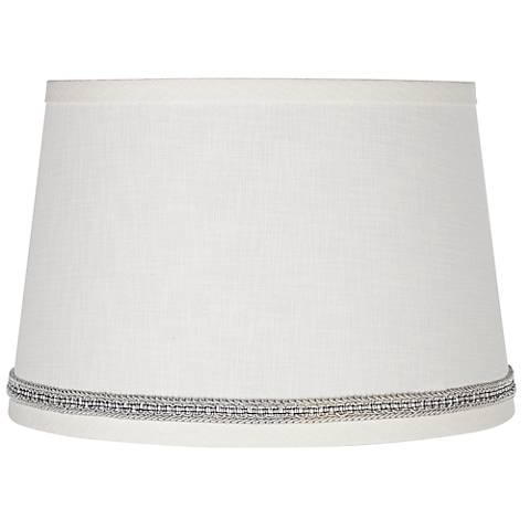 White Linen Shade with Gray Ribbon Trim 10x12x8 (Spider)