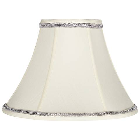 Creme Bell Shade with Gray Ribbon Trim 7x16x12 (Spider)