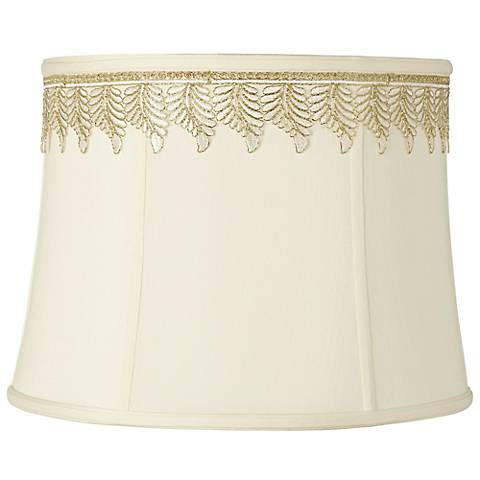 Drum Shade with Embroidered Leaf Trim 14x16x12 (Spider)