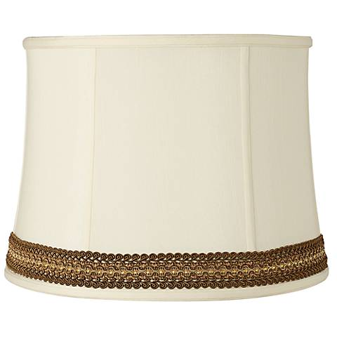 Drum Shade with Florentine Scroll Trim 14x16x12 (Spider)