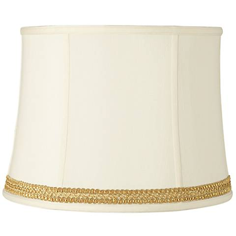 Drum Shade with Yellow Gold Ribbon Trim 14x16x12 (Spider)