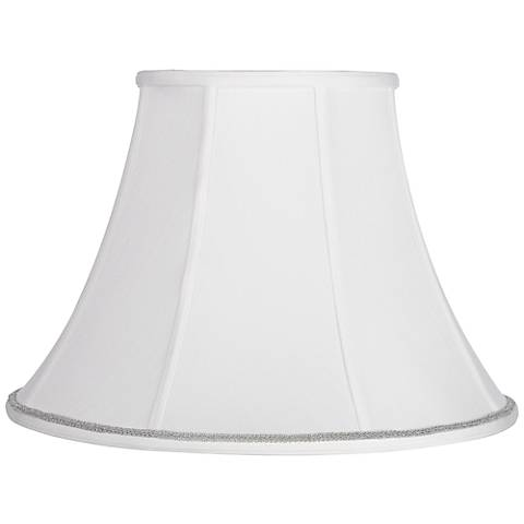 White Bell Shade with Silver Scroll Trim 9x18x13 (Spider)
